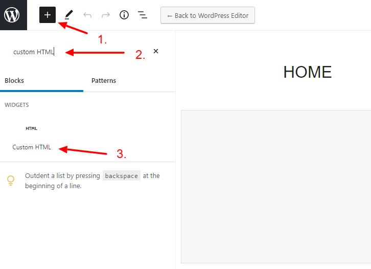 Add the custom HTML WordPress block