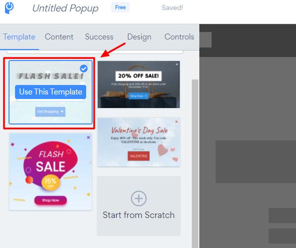 Pick a pop-up template