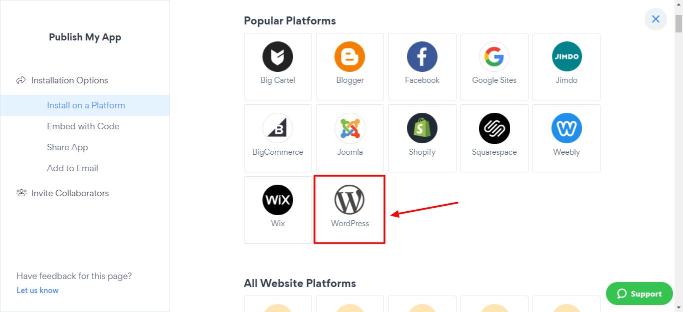 Select the WordPress platform